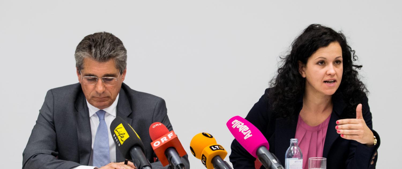 FPÖ-Klubobmann Herwig Mahr und OÖVP-Klubobfrau Helena Kirchmayr bei der Pressekonferenz